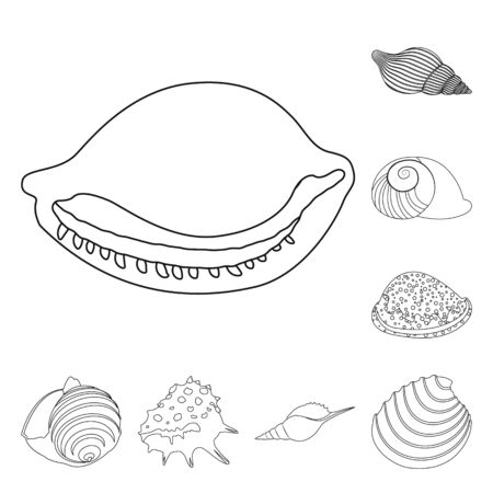 Vector design of exotic and seafood sign. Collection of exotic and aquatic vector icon for stock.