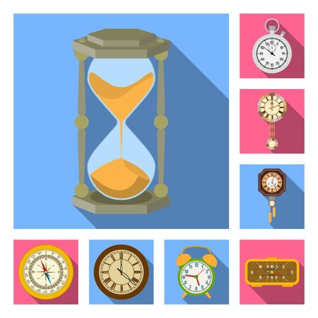 Isolated object of clock and time sign. Collection of clock and circle stock symbol for web. Illustration