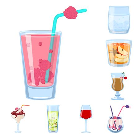 Vector design of cocktail and drink icon. Collection of cocktail and ice stock vector illustration.