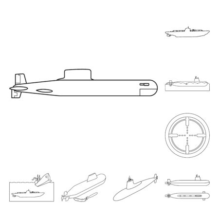 Isolated object of boat and navy logo. Collection of boat and deep vector icon for stock.