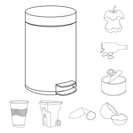 Vector design of garbage and ecology icon. Collection of garbage and recycling stock vector illustration. Ilustração