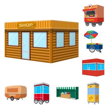Vectorillustratie van stand en kiosk pictogram. Set van stand en klein vectorpictogram voor voorraad. Vector Illustratie
