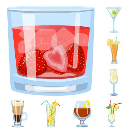Isolated object of cocktail and drink sign. Collection of cocktail and ice stock vector illustration. Vectores