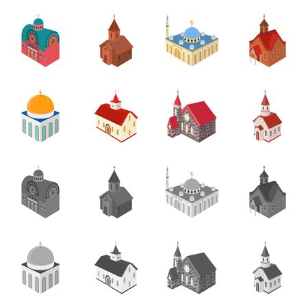 Vector illustration of temple and historic icon. Set of temple and faith vector icon for stock. Иллюстрация
