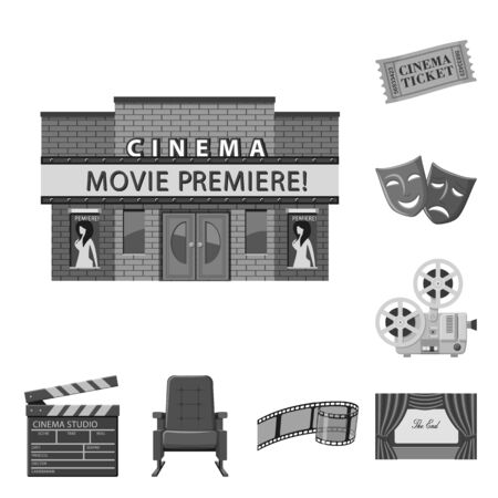 Vector illustration of cinematography and studio sign. Set of cinematography and filming vector icon for stock.