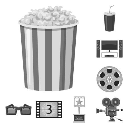 Isolated object of cinematography and studio icon. Set of cinematography and filming vector icon for stock.