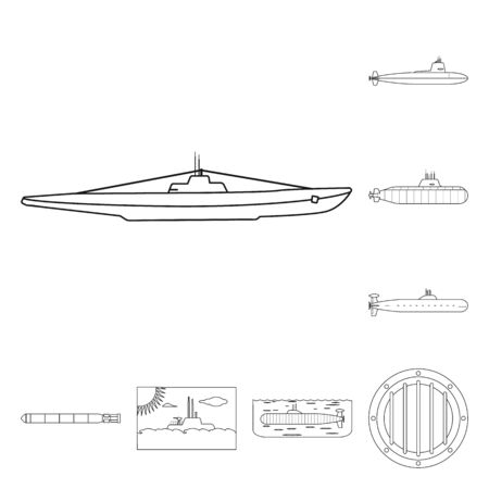 Isolated object of boat and navy symbol. Set of boat and deep stock symbol for web.