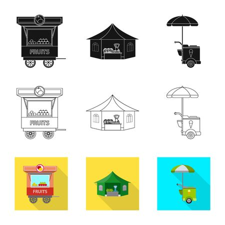 Vector illustration of market and exterior logo. Set of market and food stock vector illustration.