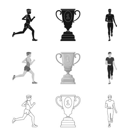 Isolated object of sport and winner symbol. Collection of sport and fitness vector icon for stock.