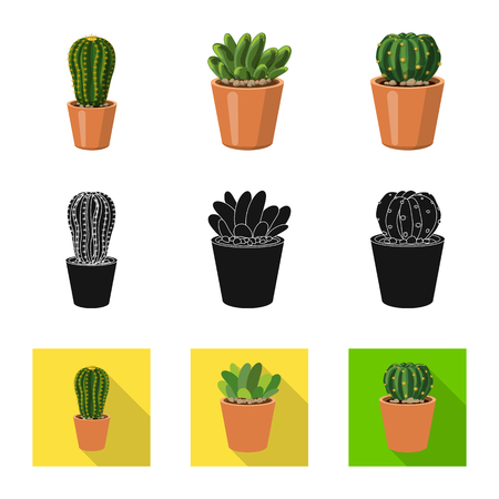 Isolated object of cactus and pot logo. Set of cactus and cacti stock symbol for web.  イラスト・ベクター素材
