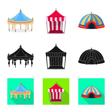 Vector design of roof and folding icon. Collection of roof and architecture stock symbol for web.