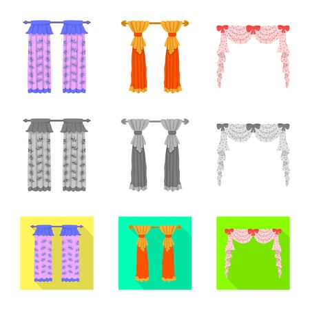 Isolated object of curtains and drapes icon. Collection of curtains and blinds vector icon for stock.