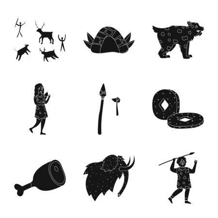Vector design of survival and primeval icon. Collection of survival and stone stock vector illustration.