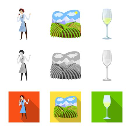 Vector illustration of farm and vineyard icon. Collection of farm and product stock vector illustration. Ilustracja