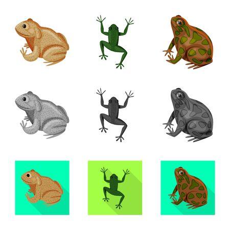 Isolated object of wildlife and bog symbol. Set of wildlife and reptile stock symbol for web. Archivio Fotografico - 124992939
