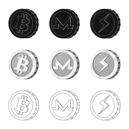 Vector design of cryptocurrency and coin logo. Set of cryptocurrency and crypto stock vector illustration. Zdjęcie Seryjne - 124992947