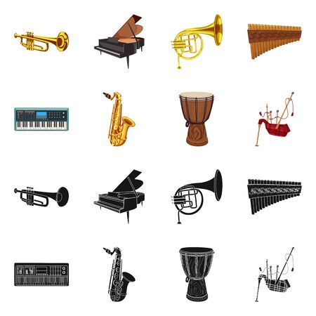 Vector illustration of music and tune symbol. Collection of music and tool stock symbol for web. Banque d'images - 124992948