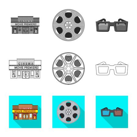 Vector design of television and filming symbol. Collection of television and viewing vector icon for stock. Illustration