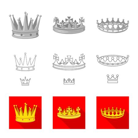 Vector illustration of medieval and nobility symbol. Collection of medieval and monarchy vector icon for stock.