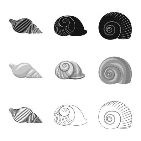 Vector illustration of animal and decoration icon. Collection of animal and ocean vector icon for stock.