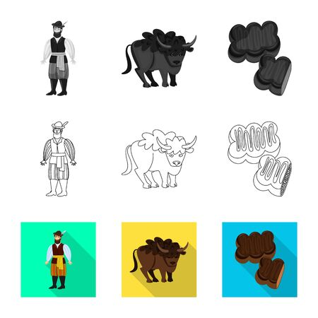 Isolated object of traditional and tour logo. Set of traditional and landmarks stock symbol for web. Illustration