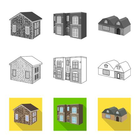 Vector illustration of facade and housing icon. Collection of facade and infrastructure vector icon for stock. Illustration