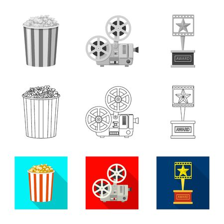 Isolated object of television and filming sign. Collection of television and viewing vector icon for stock.