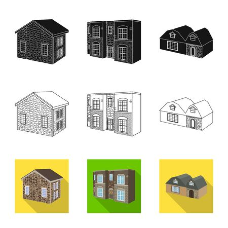 Isolated object of facade and housing symbol. Set of facade and infrastructure vector icon for stock.