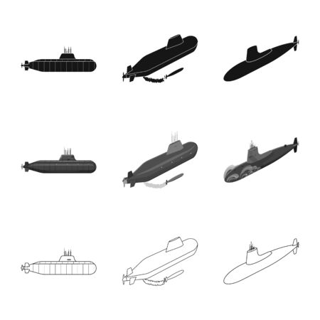 Vector illustration of war and ship symbol. Collection of war and fleet stock vector illustration.