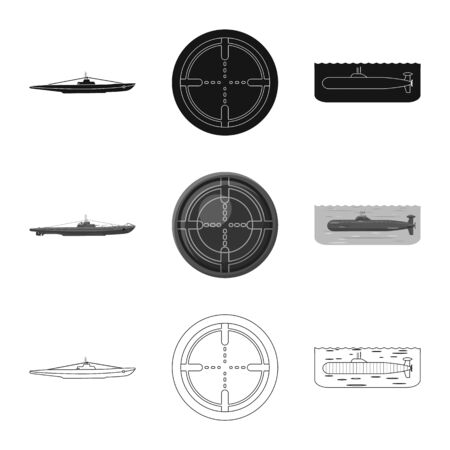 Vector design of war and ship sign. Set of war and fleet vector icon for stock.  イラスト・ベクター素材