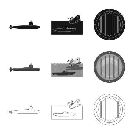 Vector design of war and ship symbol. Set of war and fleet vector icon for stock.
