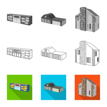 Vector illustration of facade and housing symbol. Collection of facade and infrastructure stock vector illustration. Illustration