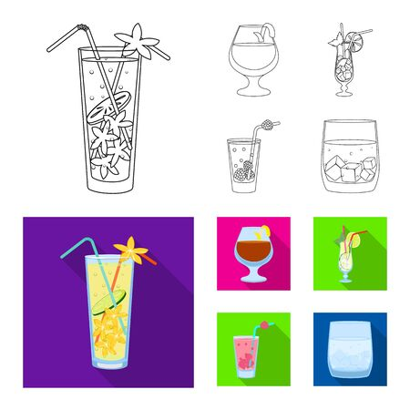 Isolated object of liquor and restaurant icon. Collection of liquor and ingredient vector icon for stock. Banco de Imagens - 124993059