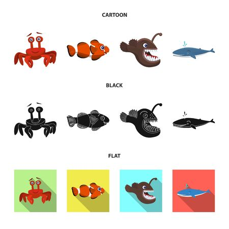 Vector illustration of sea and animal logo. Collection of sea and marine vector icon for stock.