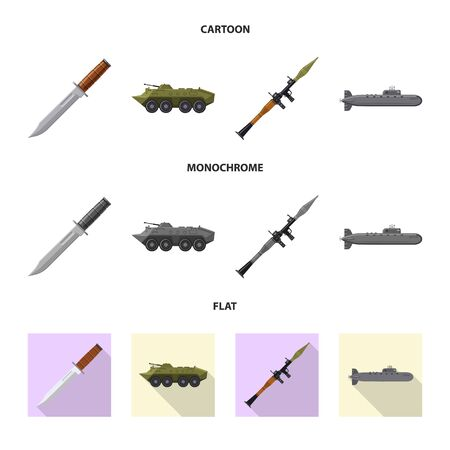 Isolated object of weapon and gun icon. Collection of weapon and army stock vector illustration. Фото со стока - 124993119