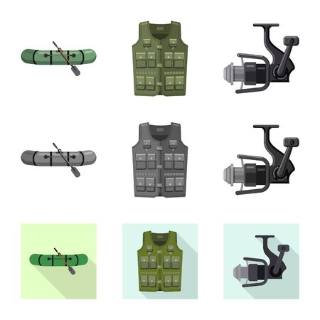 Vector design of fish and fishing icon. Set of fish and equipment vector icon for stock. Imagens - 124993120