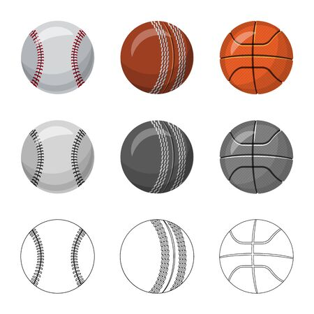 Vector illustration of sport and ball icon. Set of sport and athletic stock vector illustration. Illustration