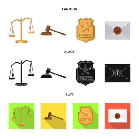 Vector design of law and lawyer logo. Set of law and justice vector icon for stock.