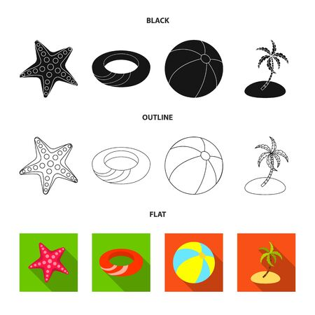 Vector illustration of equipment and swimming icon. Set of equipment and activity stock vector illustration.