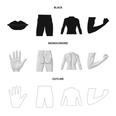 Vector illustration of human and part sign. Collection of human and woman stock symbol for web.