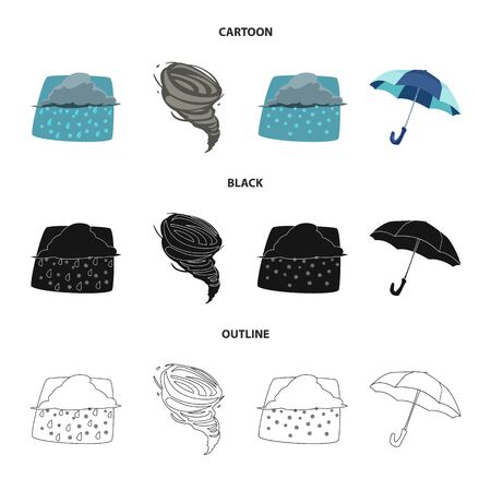 Vector illustration of weather and climate icon. Collection of weather and cloud stock vector illustration. Ilustrace