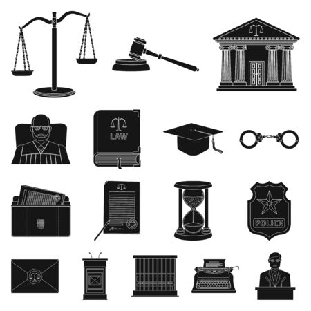 Vector design of law and lawyer sign. Set of law and justice vector icon for stock.