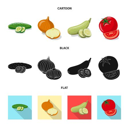 Isolated object of vegetable and fruit icon. Set of vegetable and vegetarian vector icon for stock. Ilustração