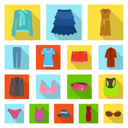 Vector illustration of woman and clothing icon. Set of woman and wear stock symbol for web.