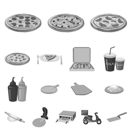 Vector illustration of pizza and food symbol. Set of pizza and italy stock vector illustration.
