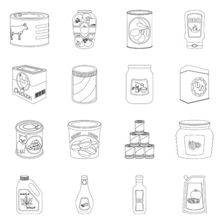 Vector illustration of can and food symbol. Collection of can and package stock symbol for web. Illustration