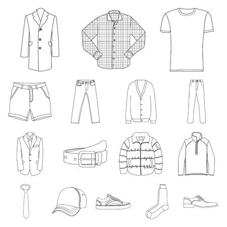 Vector design of man and clothing logo. Set of man and wear stock vector illustration.