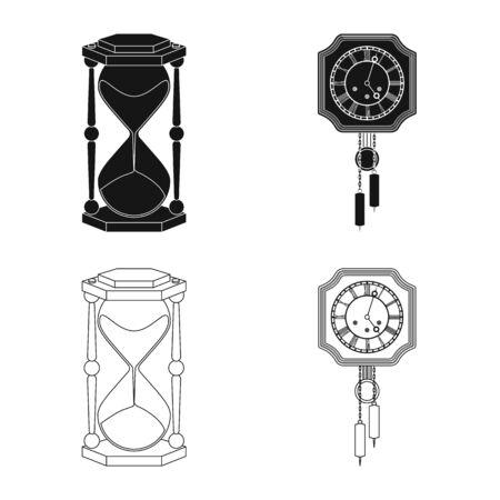 Illustration vectorielle de l'icône de l'horloge et de l'heure. Ensemble d'icône de vecteur d'horloge et de cercle pour le stock.