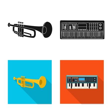 Vector illustration of music and tune logo. Set of music and tool vector icon for stock. Ilustração