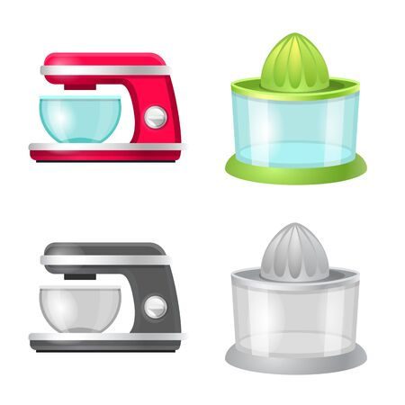 Isolated object of kitchen and cook icon. Collection of kitchen and appliance stock vector illustration. Standard-Bild - 124994928